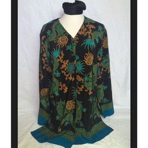 DVF Vintage Dragon & Paisley Pattern Tunic Blouse
